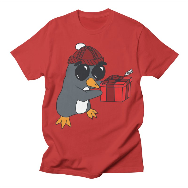 Penguin w/ present 4 U Women's Regular Unisex T-Shirt by bluetea1400's Artist Shop