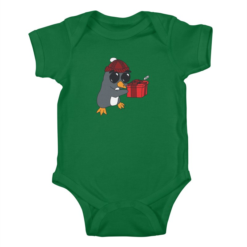 Penguin w/ present 4 U Kids Baby Bodysuit by bluetea1400's Artist Shop