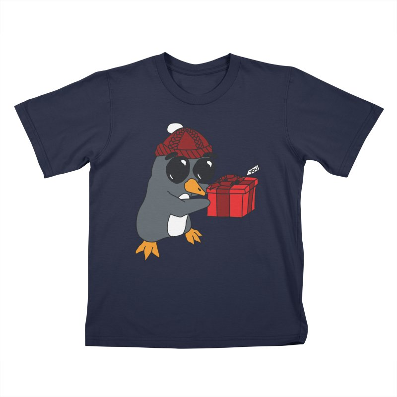 Penguin w/ present 4 U Kids T-Shirt by bluetea1400's Artist Shop