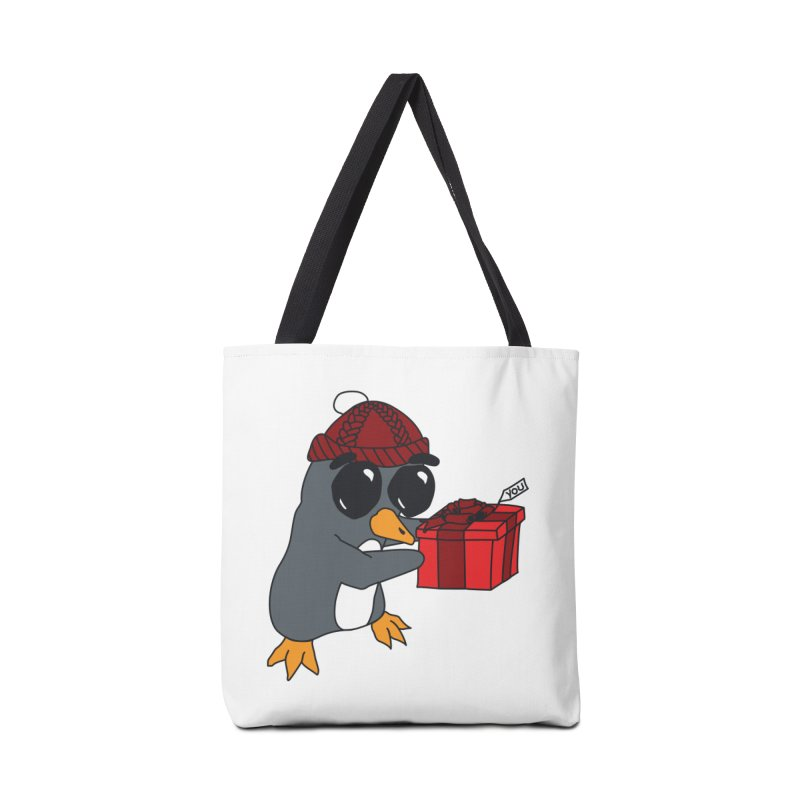 Penguin w/ present 4 U Accessories Bag by bluetea1400's Artist Shop