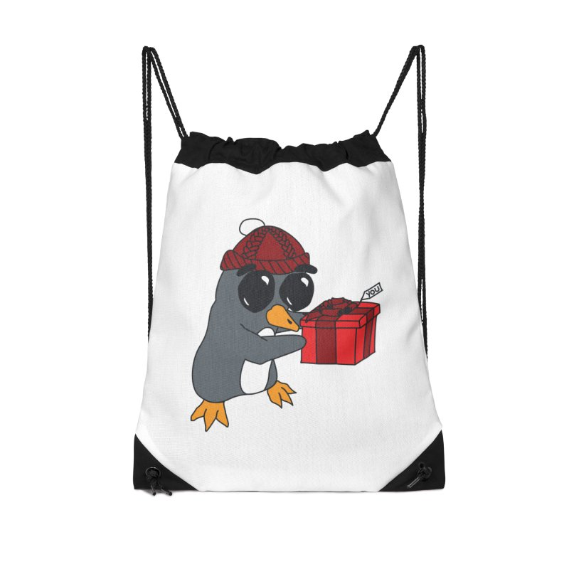 Penguin w/ present 4 U Accessories Drawstring Bag Bag by bluetea1400's Artist Shop