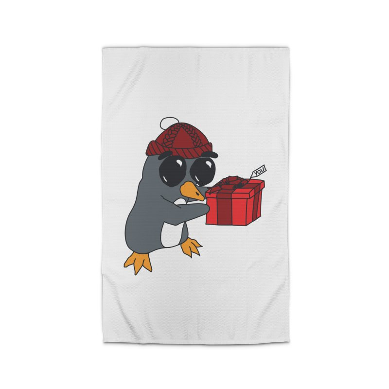 Penguin w/ present 4 U Home Rug by bluetea1400's Artist Shop