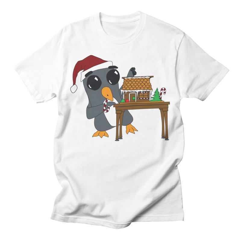 Penguin & Gingerbread House Men's T-Shirt by bluetea1400's Artist Shop