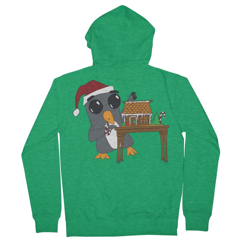 Penguin & Gingerbread House Women's Zip-Up Hoody by bluetea1400's Artist Shop
