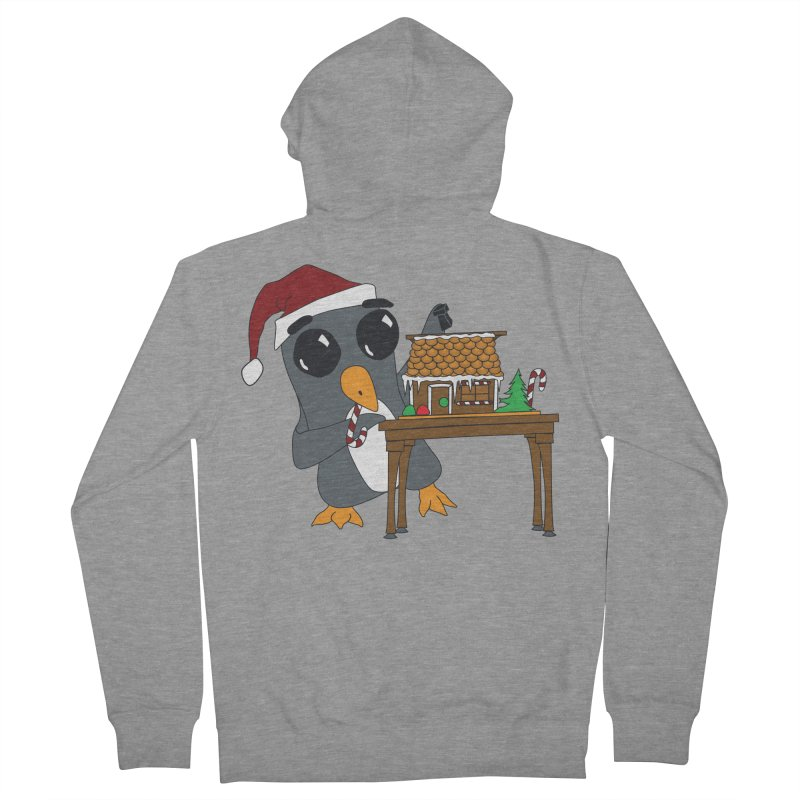 Penguin & Gingerbread House Men's French Terry Zip-Up Hoody by bluetea1400's Artist Shop