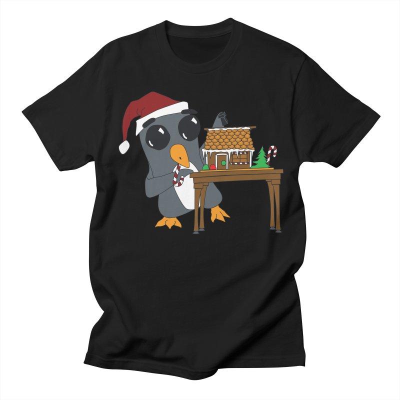 Penguin & Gingerbread House Men's Regular T-Shirt by bluetea1400's Artist Shop