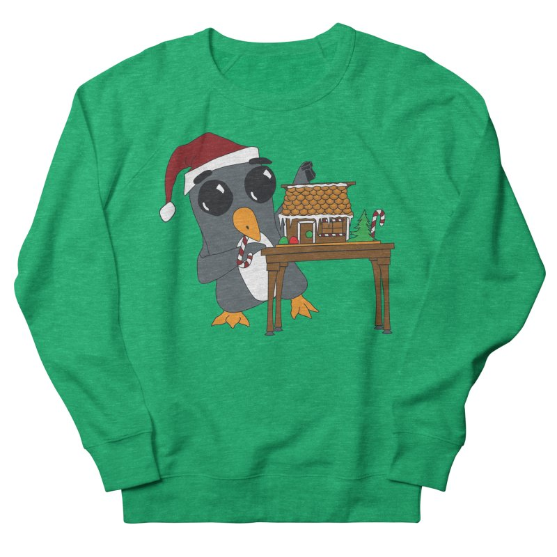 Penguin & Gingerbread House Men's French Terry Sweatshirt by bluetea1400's Artist Shop