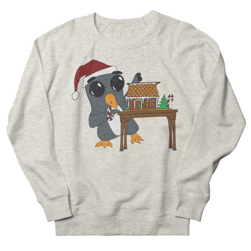 Penguin & Gingerbread House Men's French Terry Sweatshirt by bluetea1400's Artist Shop