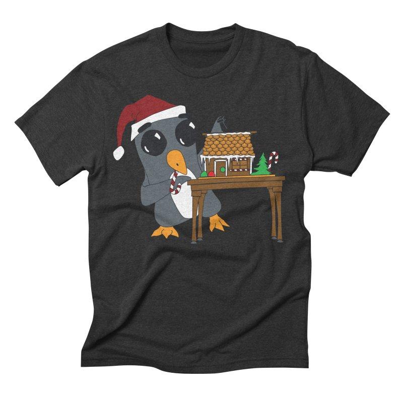 Penguin & Gingerbread House Men's Triblend T-Shirt by bluetea1400's Artist Shop