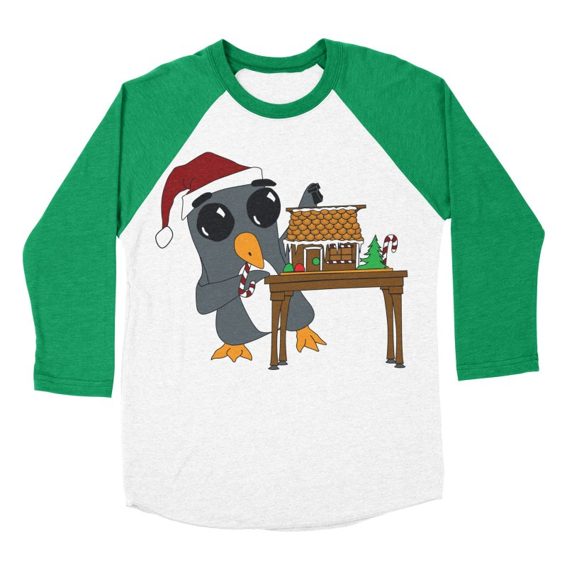 Penguin & Gingerbread House Women's Baseball Triblend Longsleeve T-Shirt by bluetea1400's Artist Shop