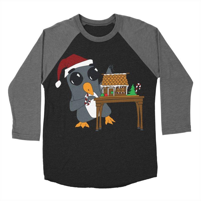 Penguin & Gingerbread House Women's Baseball Triblend Longsleeve T-Shirt by bluetea1400's Artist Shop