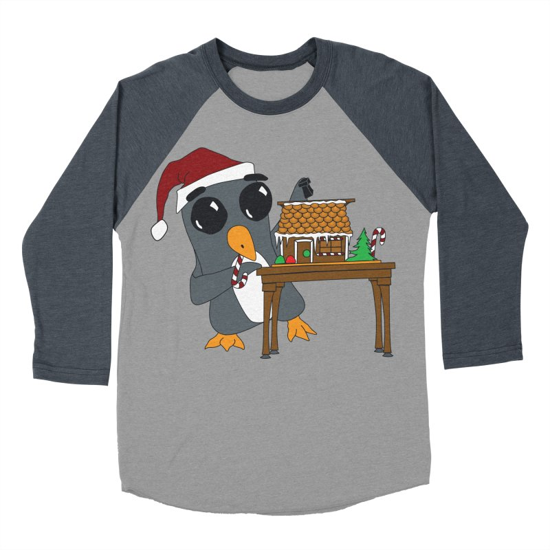 Penguin & Gingerbread House Men's Baseball Triblend Longsleeve T-Shirt by bluetea1400's Artist Shop