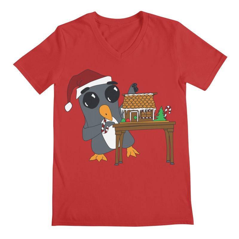 Penguin & Gingerbread House Men's V-Neck by bluetea1400's Artist Shop