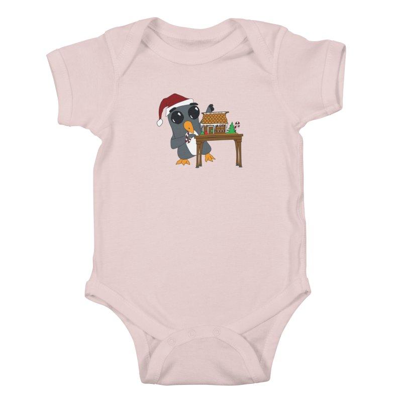 Penguin & Gingerbread House Kids Baby Bodysuit by bluetea1400's Artist Shop