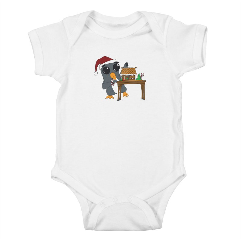 Penguin & Gingerbread House Kids Baby Bodysuit by bluetea1400's Artist Shop