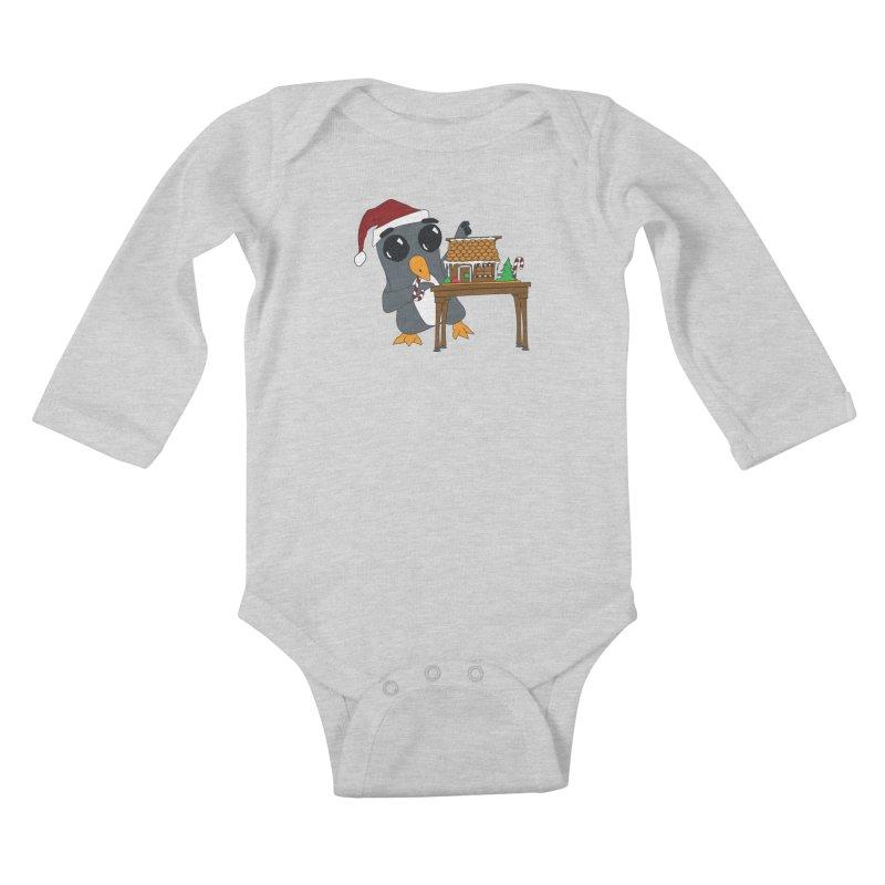 Penguin & Gingerbread House Kids Baby Longsleeve Bodysuit by bluetea1400's Artist Shop