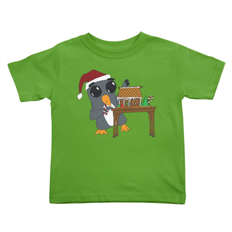 Penguin & Gingerbread House Kids Toddler T-Shirt by bluetea1400's Artist Shop