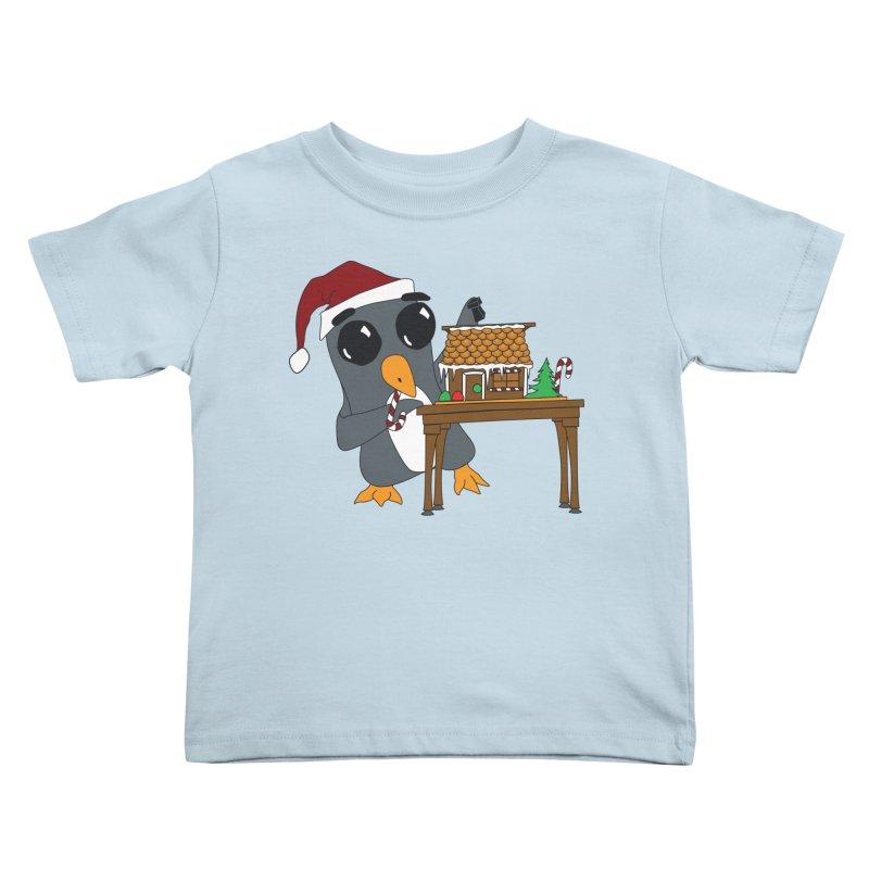 Penguin & Gingerbread House Kids Toddler T-Shirt by bluetea1400's Artist Shop