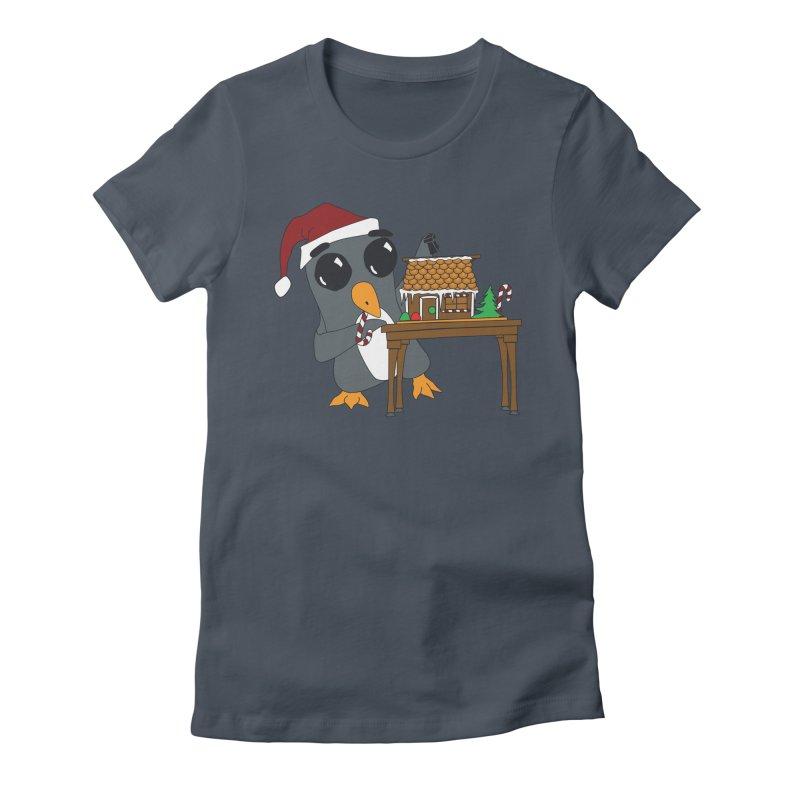 Penguin & Gingerbread House Women's T-Shirt by bluetea1400's Artist Shop