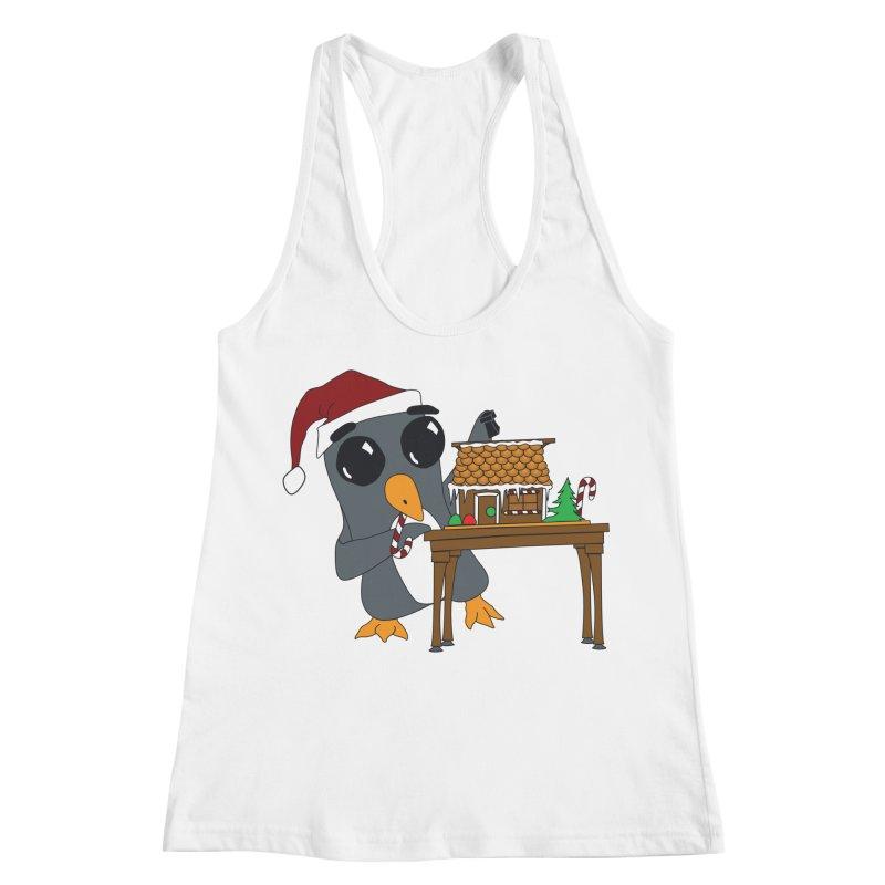 Penguin & Gingerbread House Women's Racerback Tank by bluetea1400's Artist Shop