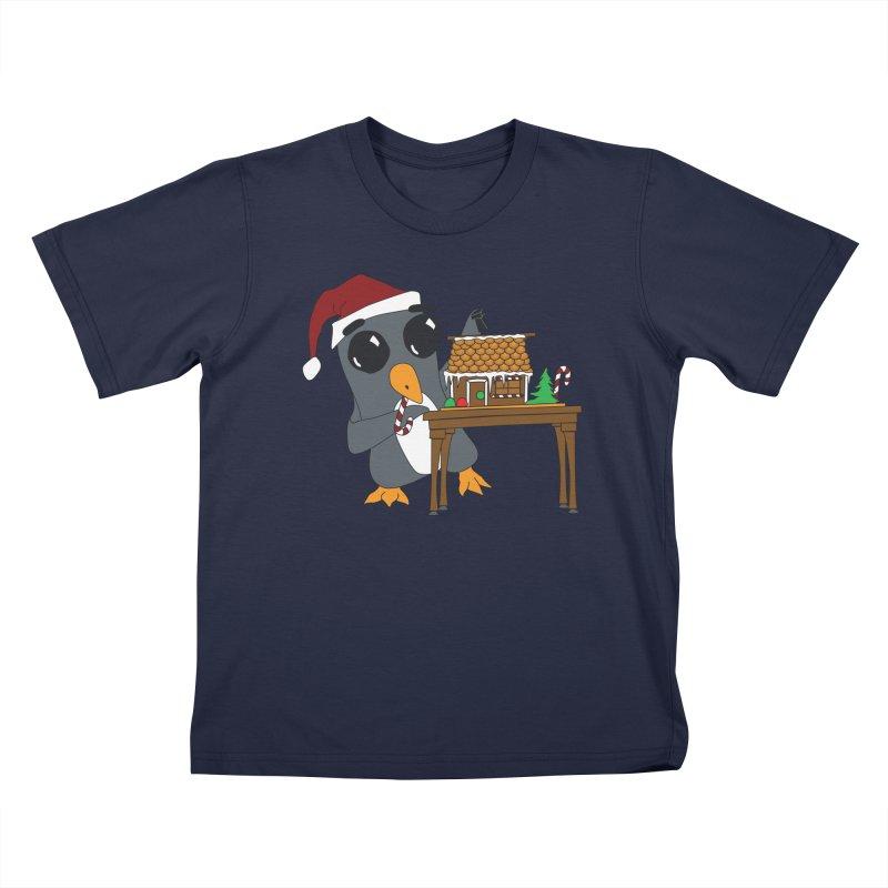 Penguin & Gingerbread House Kids T-Shirt by bluetea1400's Artist Shop