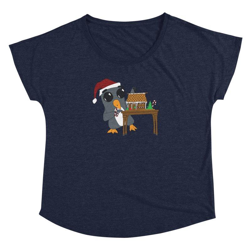 Penguin & Gingerbread House Women's Dolman Scoop Neck by bluetea1400's Artist Shop