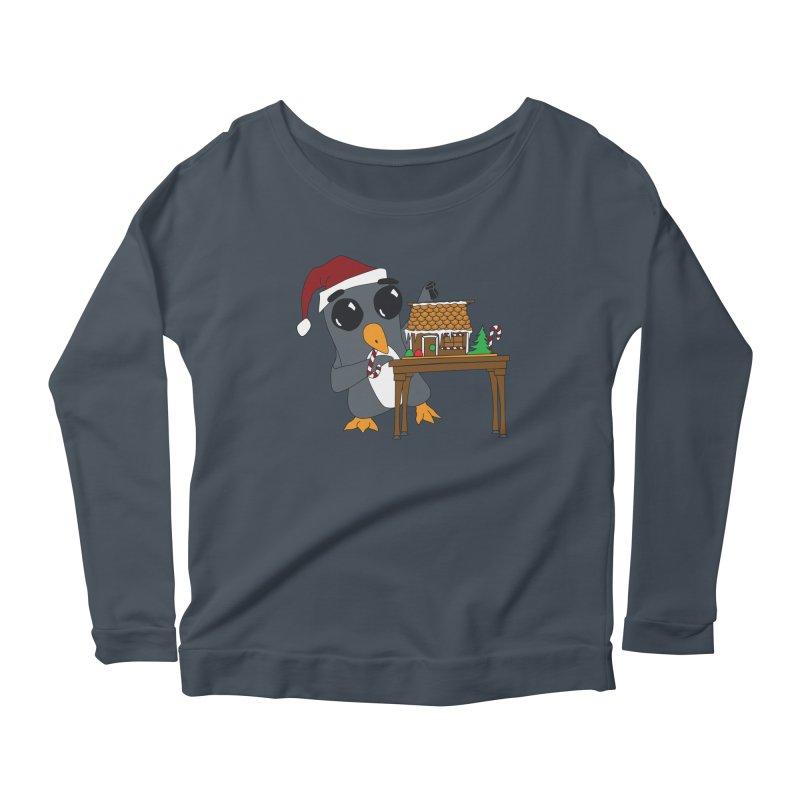 Penguin & Gingerbread House Women's Scoop Neck Longsleeve T-Shirt by bluetea1400's Artist Shop