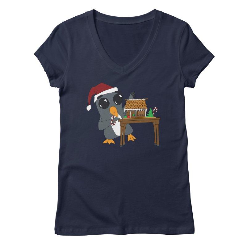 Penguin & Gingerbread House Women's Regular V-Neck by bluetea1400's Artist Shop