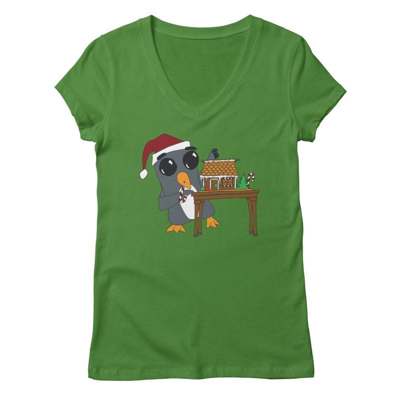 Penguin & Gingerbread House Women's V-Neck by bluetea1400's Artist Shop
