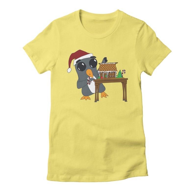 Penguin & Gingerbread House Women's Fitted T-Shirt by bluetea1400's Artist Shop