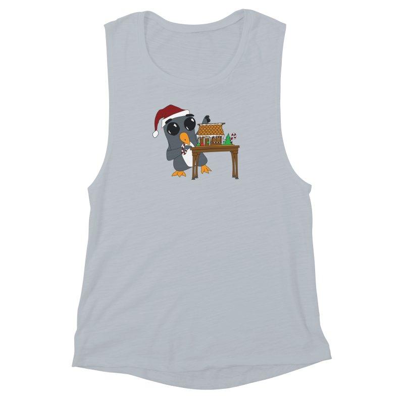 Penguin & Gingerbread House Women's Muscle Tank by bluetea1400's Artist Shop