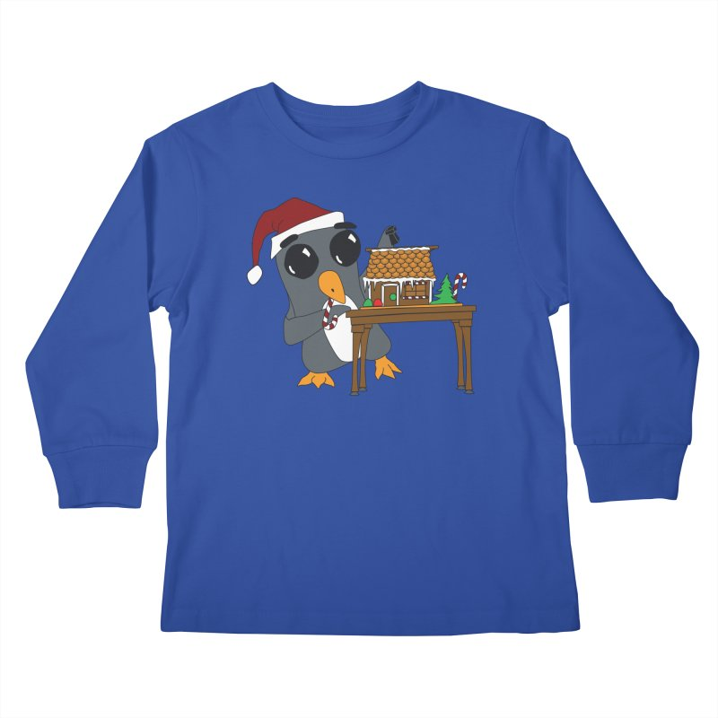 Penguin & Gingerbread House Kids Longsleeve T-Shirt by bluetea1400's Artist Shop
