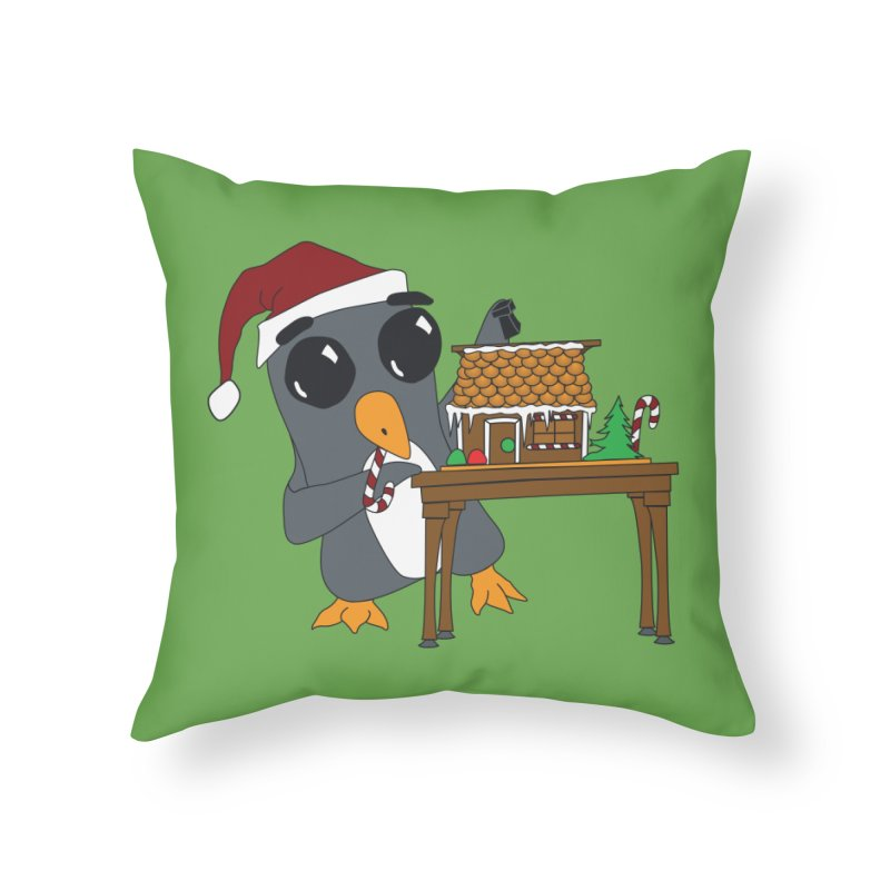 Penguin & Gingerbread House Home Throw Pillow by bluetea1400's Artist Shop