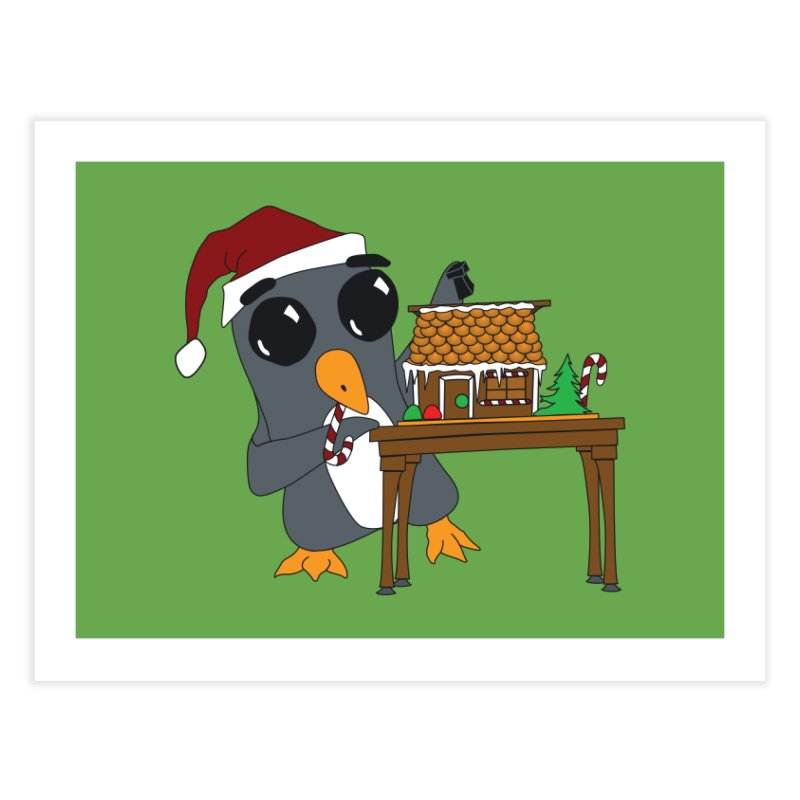 Penguin & Gingerbread House Home Fine Art Print by bluetea1400's Artist Shop