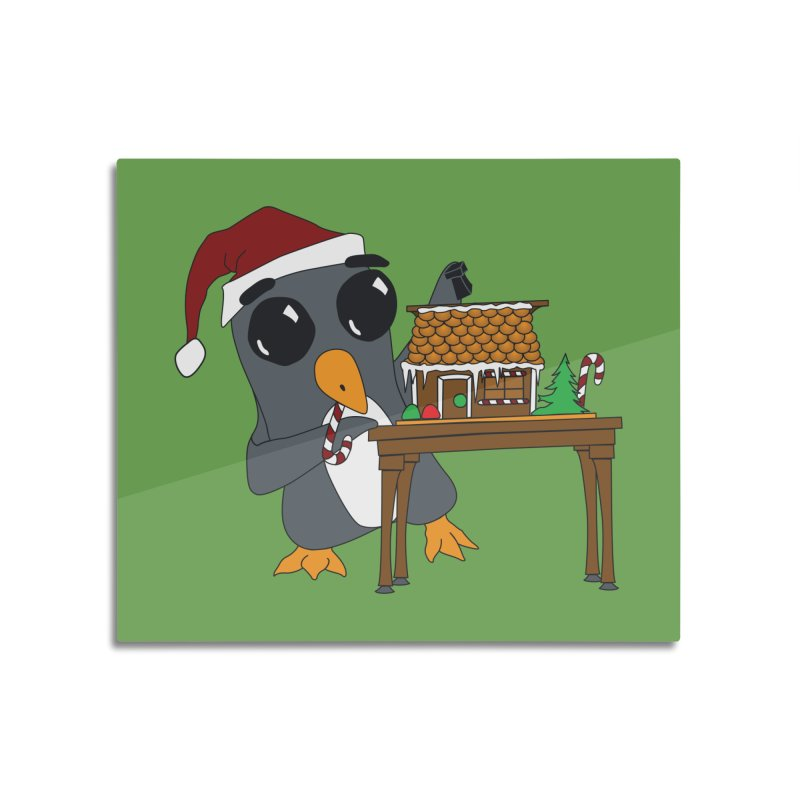 Penguin & Gingerbread House Home Mounted Acrylic Print by bluetea1400's Artist Shop