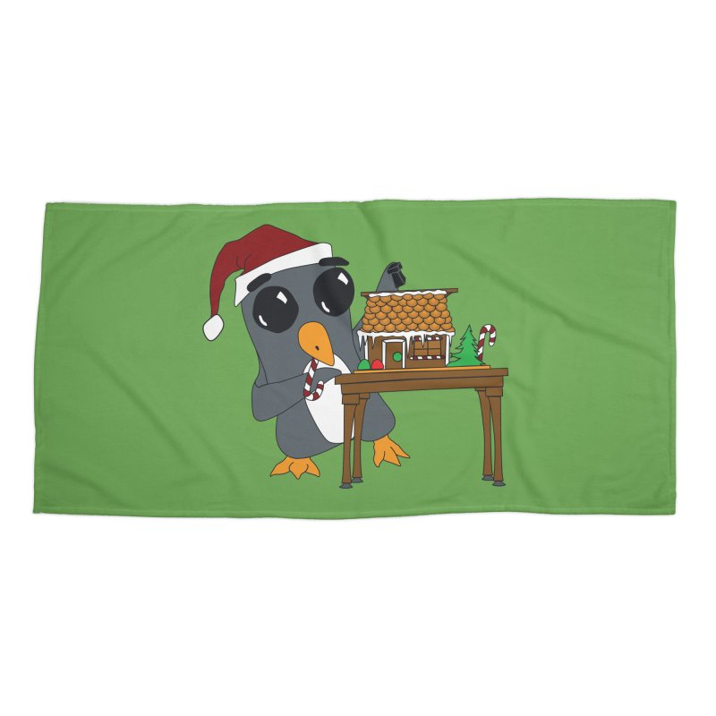 Penguin & Gingerbread House Accessories Beach Towel by bluetea1400's Artist Shop