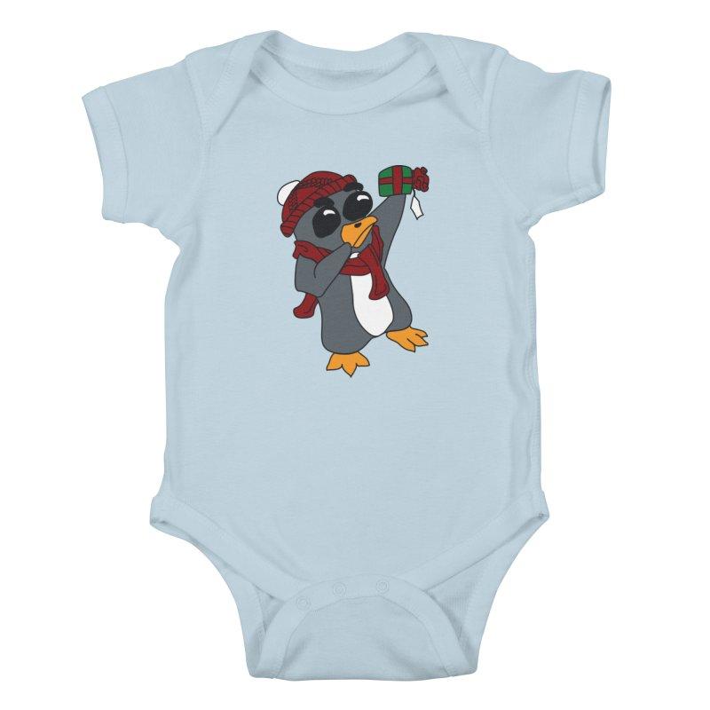 Present Shaking Penguin Kids Baby Bodysuit by bluetea1400's Artist Shop