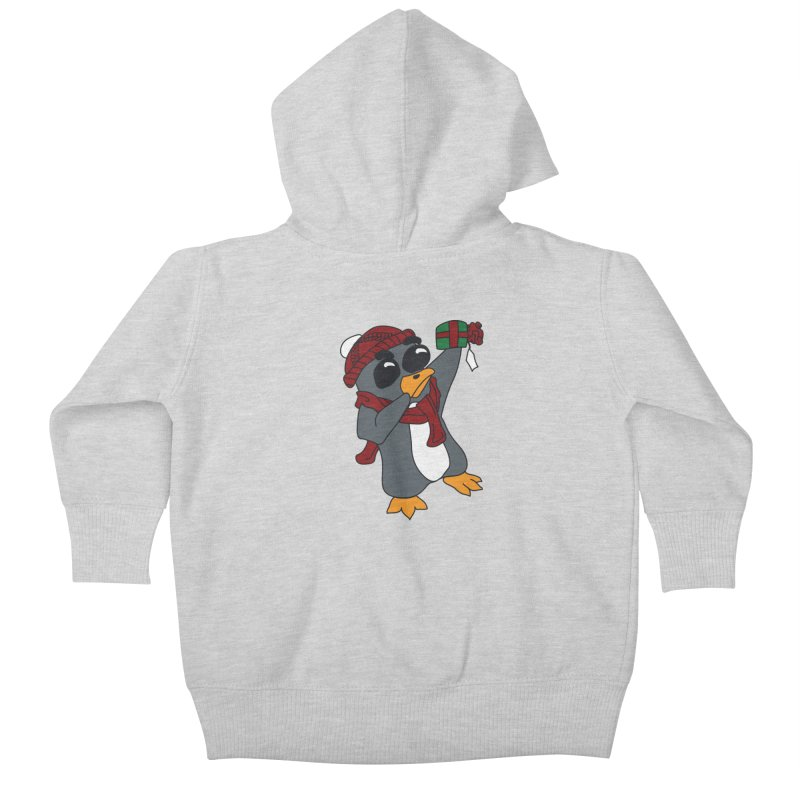Present Shaking Penguin Kids Baby Zip-Up Hoody by bluetea1400's Artist Shop