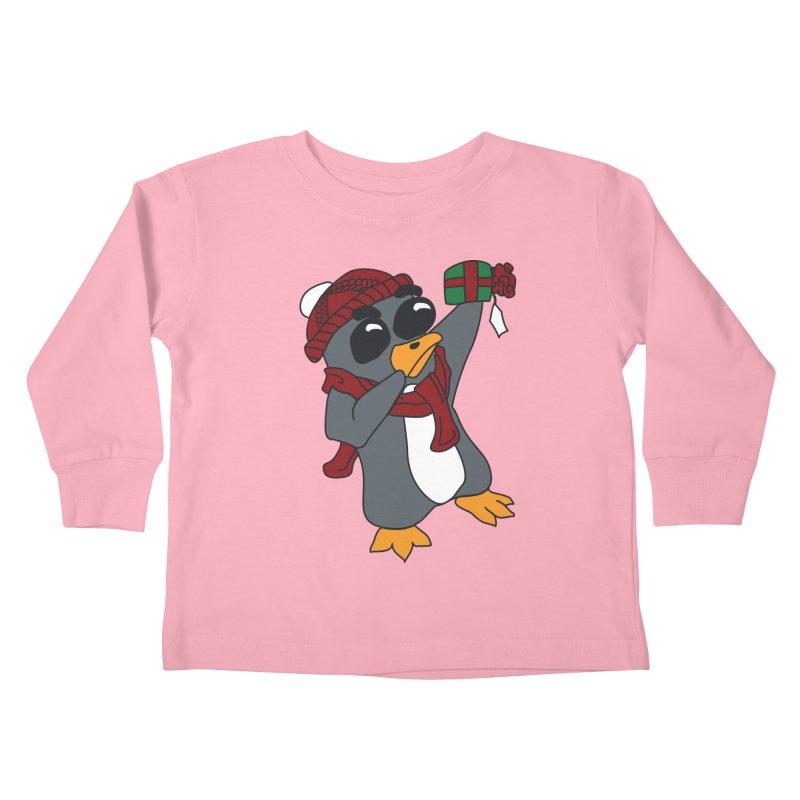 Present Shaking Penguin Kids Toddler Longsleeve T-Shirt by bluetea1400's Artist Shop