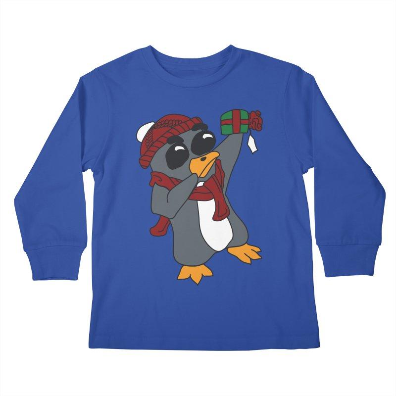 Present Shaking Penguin Kids Longsleeve T-Shirt by bluetea1400's Artist Shop