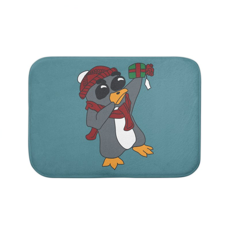 Present Shaking Penguin Home Bath Mat by bluetea1400's Artist Shop