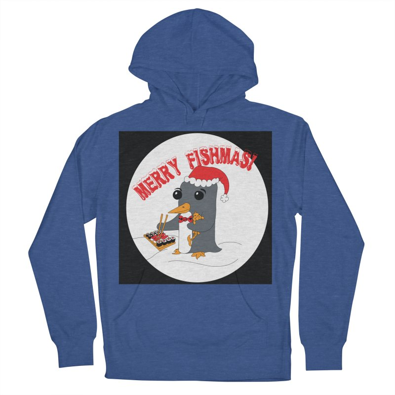 Merry Fishmas! Men's French Terry Pullover Hoody by bluetea1400's Artist Shop