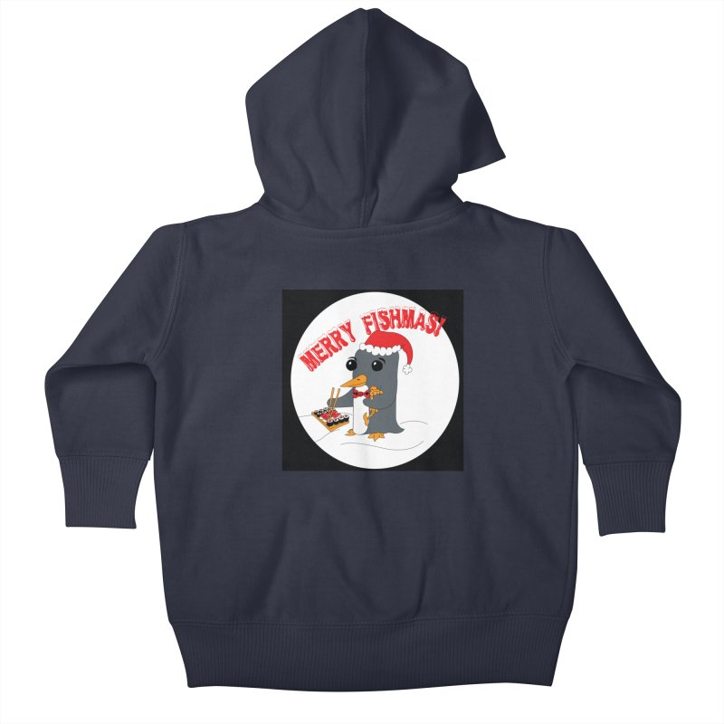 Merry Fishmas! Kids Baby Zip-Up Hoody by bluetea1400's Artist Shop