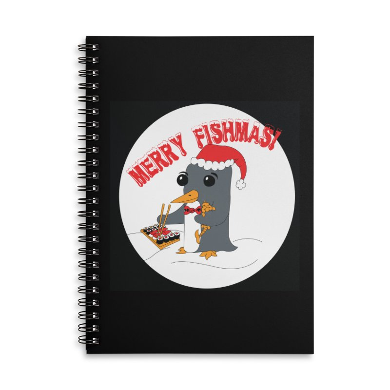 Merry Fishmas! Accessories Lined Spiral Notebook by bluetea1400's Artist Shop