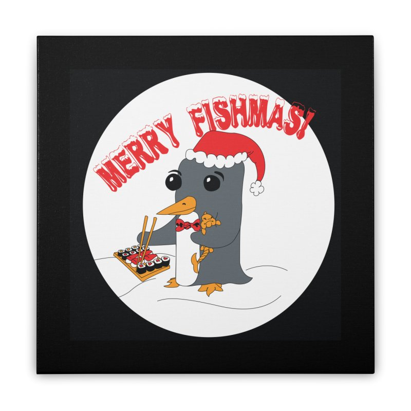 Merry Fishmas! Home Stretched Canvas by bluetea1400's Artist Shop