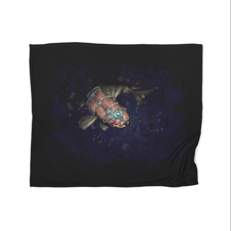 Mecha Carp Home Fleece Blanket Blanket by bluetea1400's Artist Shop