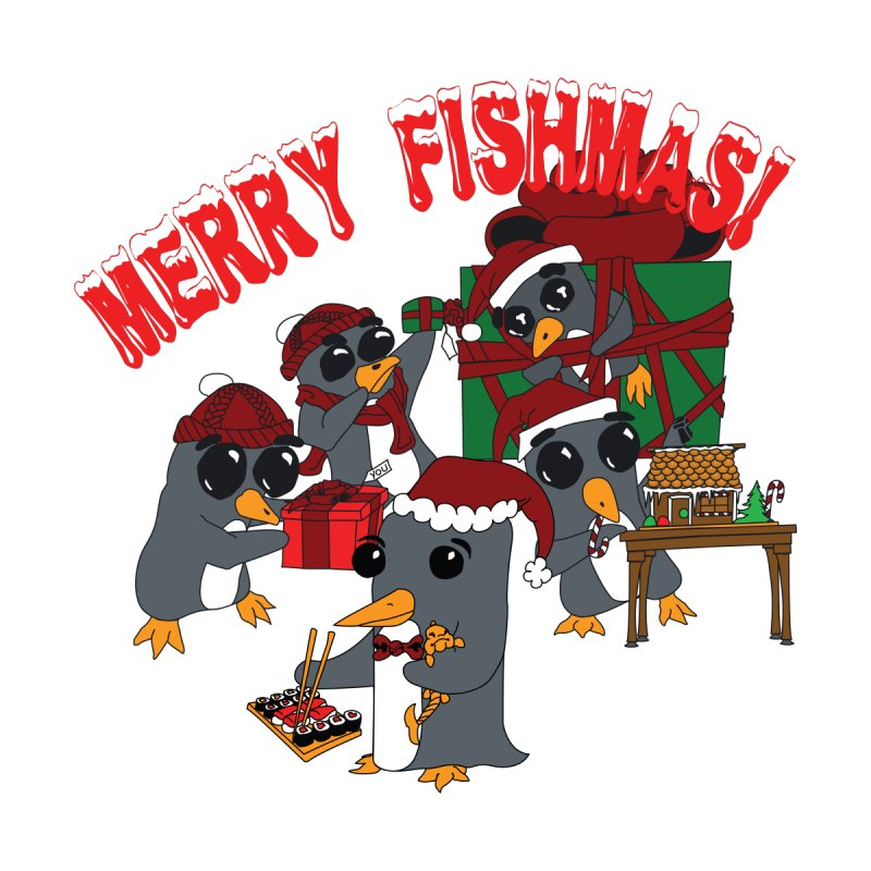 Penguins Fishmas Women's V-Neck by bluetea1400's Artist Shop