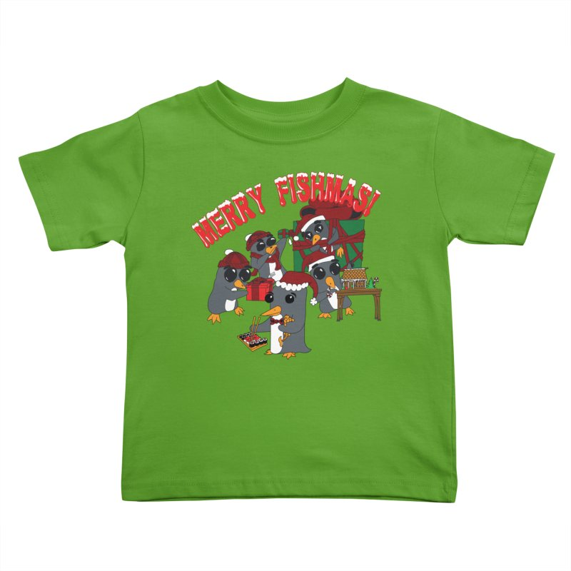 Penguins Fishmas Kids Toddler T-Shirt by bluetea1400's Artist Shop