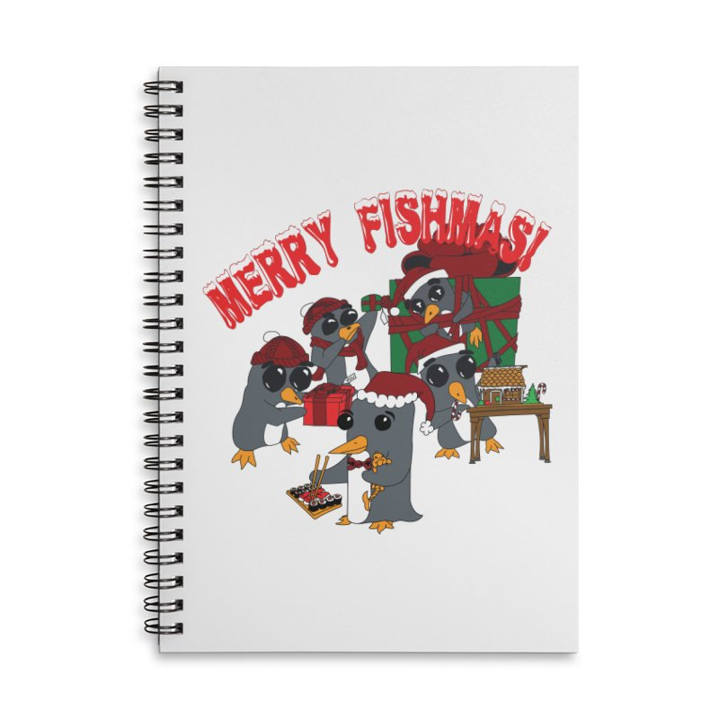 Penguins Fishmas Accessories Lined Spiral Notebook by bluetea1400's Artist Shop