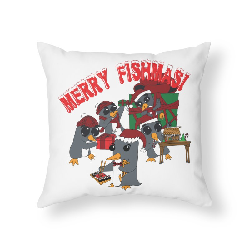 Penguins Fishmas Home Throw Pillow by bluetea1400's Artist Shop